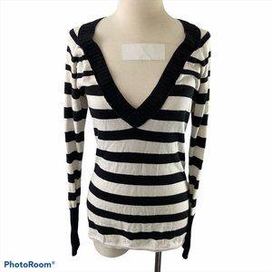 AMERICAN EAGLE Black & White Striped Long Sleeve